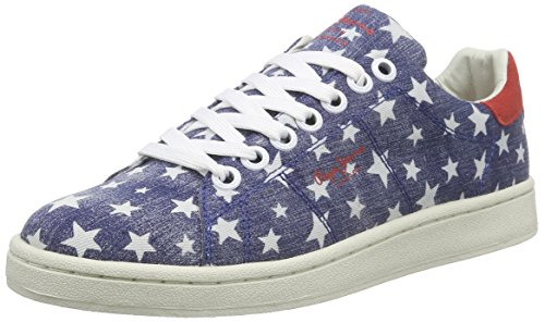 Pepe Jeans Club Stars, Baskets femme Bleu (576 Washed Navy)
