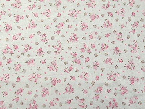 truella Blütenmuster gebürstet Weiche Baumwolle Kleid Stoff pink auf, Meterware, Elfenbeinfarben