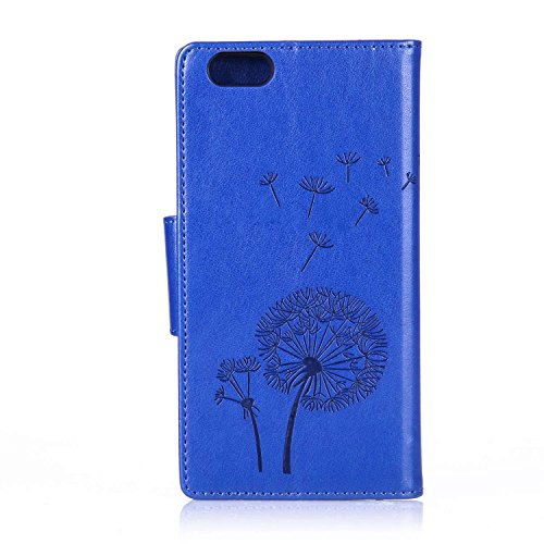 JAWSEU Schmetterling Muster Leder Schutzhülle für iPhone 6 Plus/6S Plus,Elegante Retro Einzigartige Rot Diamant/Bling/Glitzer/Strass/Glänzend Schmetterling Blumen Pu Leder Magnetverschluss Strap Prote Pusteblume,Blau