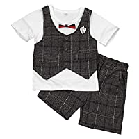 iiniim Toddlers Kids Boy Plaid Short Sleeve Tops T-shirt Pants Outfits Set Clothes White&Coffee 18-24 Months