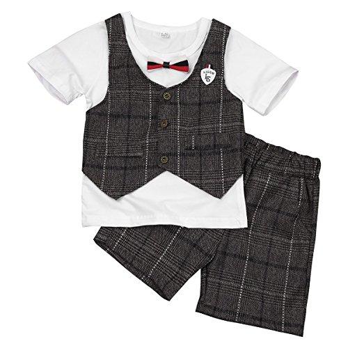 YIZYIF Pelele Mono Bautizo Fiesta Niño Conjunto Infantil Dos Piezas Camisa Con Chaleco Pantalones Cortos Para Bebé Recién Nacido Niño Algodón Blanco&Café 3-4 Años