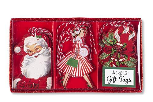 Tri-coastal design - set di 12 gift tags di natale - bigliettini con nastrino natalizi per abbellire i tuoi pacchetti vintage christmas segnapacco