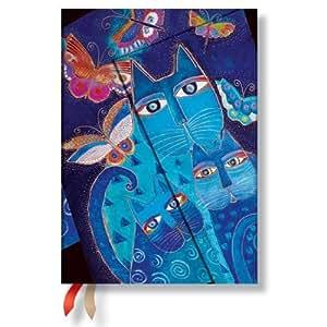 2016 BluAgenda 2016 PAPERBLANKS Chats Bleus et Papillons format Midi 130x180 mm - 1 semaine sur 2 pages horizontale Cats Butterflies