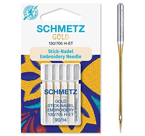 SCHMETZ Nähmaschinennadeln 5 Gold Stick-Nadeln | 130/705 H-ET | Nadeldicke: 90/14 | geeignet für das Sticken mit Stickmaschinen und das Nähen mit alle gängige Haushalts-Nähmaschinen -