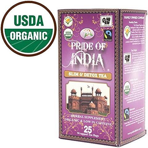 Pride Of India - Organic Slim & Detox Tea, 25 Count 1-Pack (25 Tea Bags)