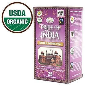 Pride Of India - Organic Slim & Detox Weight Loss Tea, 25 Tea Bags