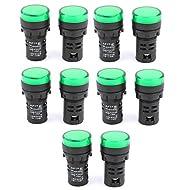 sourcingmap® 21mm Montage Diamètre Indicateur LED Signal Lumineux Lampe AC 24V 20mA Vert 10 pièces