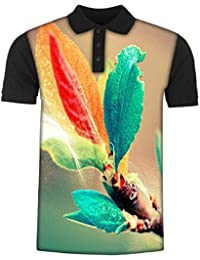 Snoogg Colorful Leaves Digital Art Men's Polo T-Shirt with Collar Stylish Half Sleeve (Cotton,Polyester)