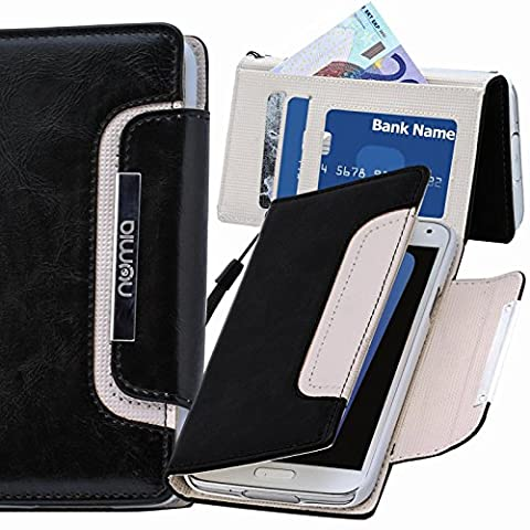 Original Numia Design Luxus Bookstyle Handy Tasche LG G3 (D855) in Schwarz-Weiss Flip Style Case Cover Gehäuse Etui Bag Schutz Hülle NEU