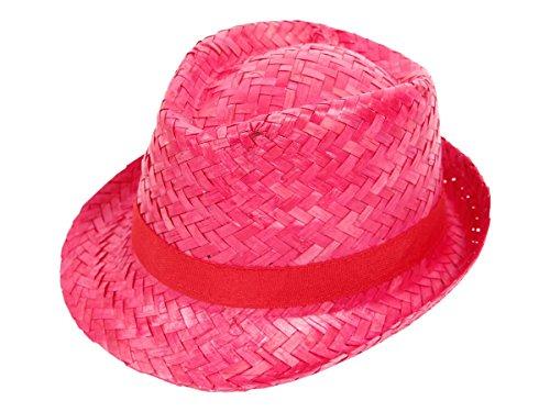 Alsino Hawaii Karibik Trilby Strohhut Hut Partyhut Hawaiihut Beach Party Sonnenhut, wählen:Strohhut pink 95444
