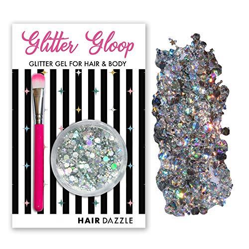 Haar & Körper Glitzer Gel, HOLO SILBER'' GLITTER GLOOP - Halloween-Kostüm, Haar, Gesicht, Körper Glitzer