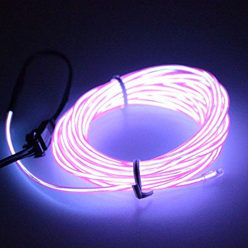Possbay Tragbare EL Draht Seil Neon-LED-Licht Cool Light Dekoration Light + USB Transformator Party Licht Indoor Outdoor Beleuchtung stroboskopischer Dancing LED Strip, violett (Cool El Draht)