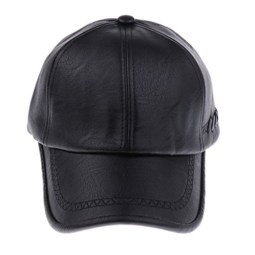 Sharplace Leder Basecap Baseballkappe Baseballcap Lederkappe Golf Cap für Damen Herren - Stil 2-Schwarz