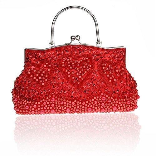 perline/A forma di cuore borsa/ stile folk spalla borsa/pacchetto Cena-F F