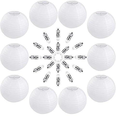 Zacro 10pcs Lanternes en Blanc Papier de 12 Pouces (30cm)