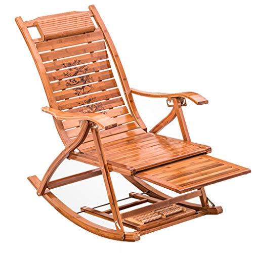 Fauteuil lounge inclinable Patio de jardin pliant pour la piscine Fauteuil à bascule en bambou réglable Chaise longue avec repose-pieds et accoudoirs
