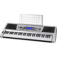 ReaseJoy 61 Keys Digital Music Keyboard Electric Piano Talent Practice with Multifunctional LCD Display for Beginners Beginners and Hobbyists Silver