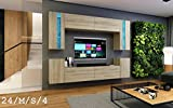Wohnwand FUTURE 24 Moderne Wohnwand, Exklusive Mediamöbel, TV-Schrank, Neue Garnitur, Große Farbauswahl (RGB LED-Beleuchtung Verfügbar) (ohne LED, Sonomo Eiche)