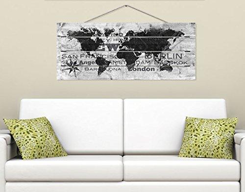Klebefieber Holzbild Um die Welt B x H: 120cm x 48cm