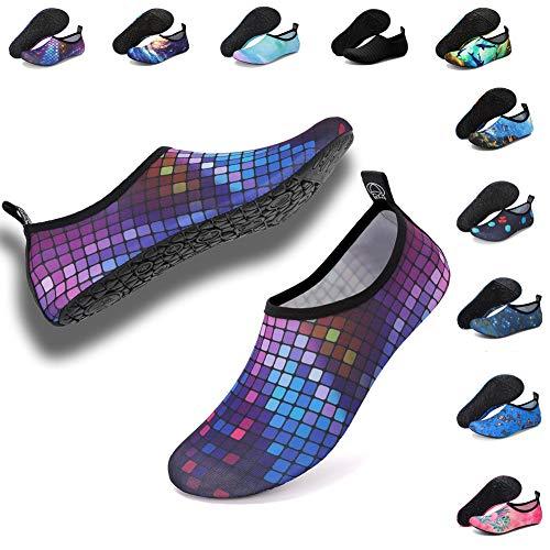Deevike Aqua Socken Wasserschuhe Barfuß Yoga Socken Schnell Trocken Surfen Schwimmen Schuhe für Damen Herren Farbige Quadrate 40/41 -
