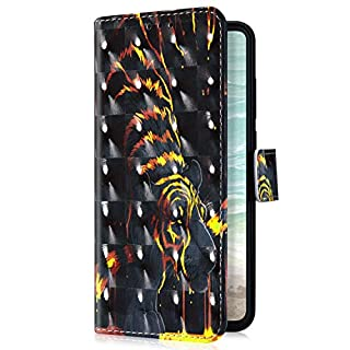 Uposao Kompatibel mit Huawei Honor 8A Handyhülle Bunt Bling Glitzer Glänzend Muster Leder Tasche Schutzhülle Brieftasche Handytasche Lederhülle Klapphülle Case Flip Cover,Schwarz Tiger