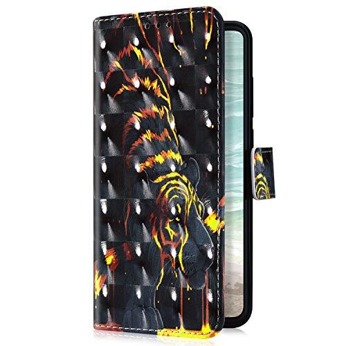 Uposao Kompatibel mit Samsung Galaxy S9 Handyhülle Bunt Bling Glitzer Glänzend Muster Leder Tasche Schutzhülle Brieftasche Handytasche Lederhülle Klapphülle Case Flip Cover,Schwarz Tiger