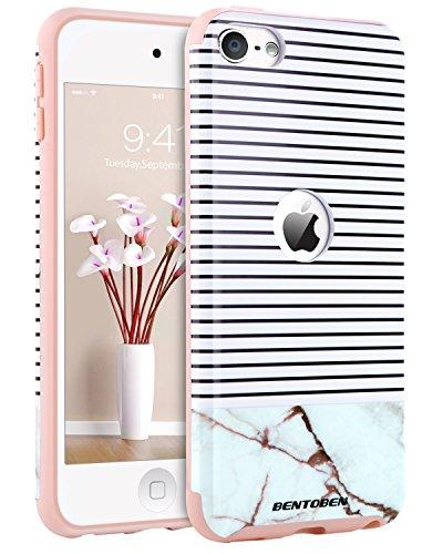 iPod 5Fall, iPod 6Fällen Ananas, bentoben Ultra Slim Gold Ananas Design Harte PC Weiche TPU Kratzfest stoßfest Schutzhülle für iPod Touch 56. Generation, K077-Marble Stripes - Fall-harte Und Weiche 5 Ipod