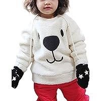 Zantec suéter La historieta linda del oso del bebé de los niños remata el suéter grueso del paño grueso y suave de la felpa del espesamiento