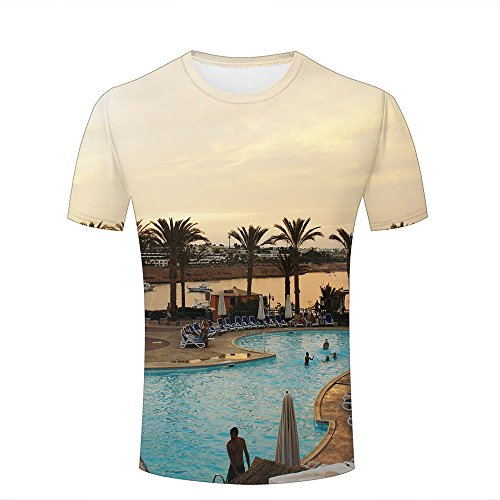 WEIYI BO Homme T-Shirt 3D Digital Pinted exoticholiday Resort Sunset Couple Tees Tops A