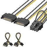 J&D 2 Confezioni 2x SATA Power 15 Pin a 8 Pin PCI Express (PCIe) Grafica Scheda Video Cavo Adattatore di Alimentazione - 20cm