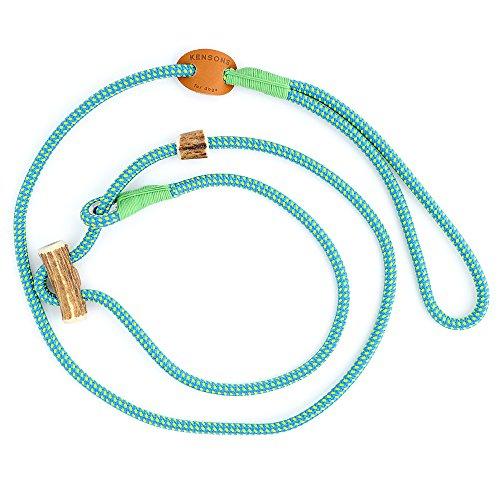 HUNDELEINE   RETRIEVERLEINE 'Elegant', hell-blau-neon, 6 mm dick, mit Zugstopp aus Hirschhorn & Takling   Halsband und Leine in Einem   Hundeführleine   Führleine   Tauleine   Moxon-Leine