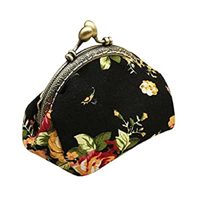 Coin Purse,Colorful Retro Vintage Flower Small Wallet Hasp Purse Clutch Bag