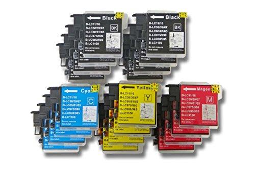 20 x vhbw Druckerpatronen Tintenpatronen Set für Brother Brother MFC-490CN, MFC-490CW, MFC-790CW, MFC-395CW, MFC-990CW wie LC980, LC985, LC1100.