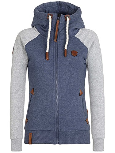 Naketano Female Zipped Jacket Mach klar jetzt bluegrey grey melange