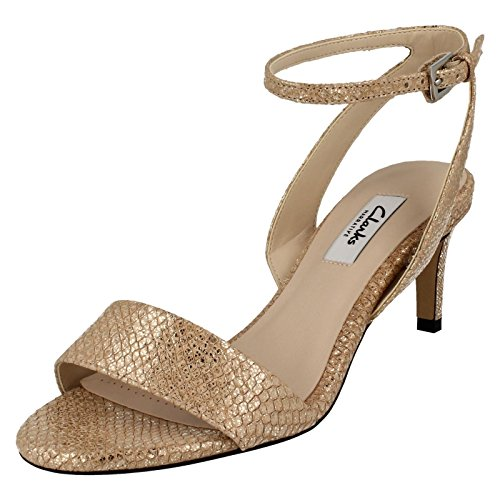 Clarks Amali Jewel Women's Stilettos in Champagne or Black Leather Champagne
