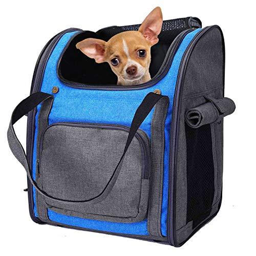 PETTOM Haustier Rucksack Haustiertragetasche Oxford Material Rucksack für Hund und Katzen, Verstellbarer und Faltbar Airline Genehmigt Hunde Rucksack für das Reisen und draussen (Grau Blau)