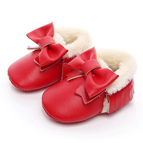 Saingace Krabbelschuhe boots 1 ~ 6 Alter Baby-Bowknot-weiche Sole-Schnee-Aufladungen weiche Krippe-Baumwollschuhe-Kleinkind-Aufladungen Rot