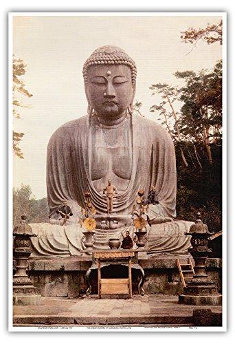 Pacifica Island Art Statue des großen Buddha von Kamakura - K Toku-in-Tempel, Japan - Vintage Retro Religiöse Kunst c.1921 - Kunstdruck - 33cm x 48cm - Buddha-statue In Japan