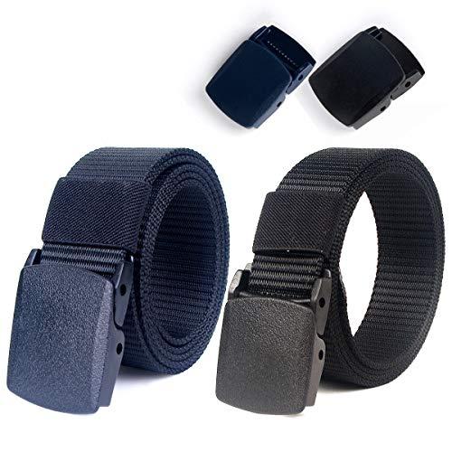 Lalafancy Paquete de 2 hombres Cinturón 1.5'Nylon Cinturón de malla militar sin hebilla de metal (Negro + Azul)