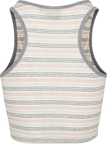 Urban Classics Ladies Rib Stripe Cropped Top, Débardeur Femme Mehrfarbig (Pink/White/Grey 01313)