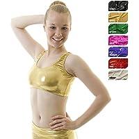 Crazy Chick Señoras metálico Brillante Baile Gimnasia Racer Top Efecto Mojado, Color Dorado, tamaño L/XL: UK 12-14