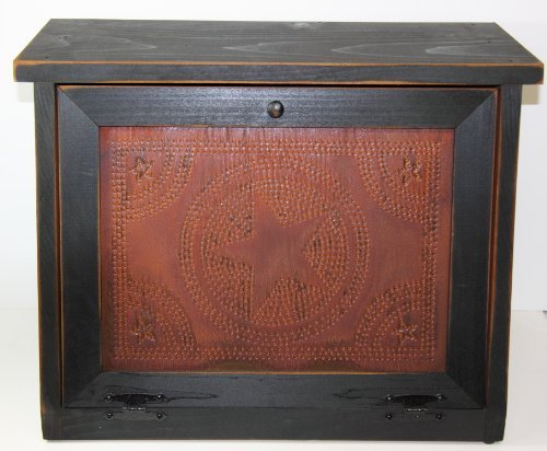 Country Rustic Primitive Bread Box with Rusty Star Design Punched Tin Black by KCW