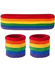 Banda Suddora - Set (1 diadema y 2 muñequeras) algodón para deporte y más arco iris