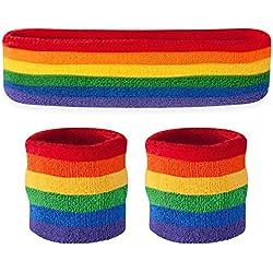 Suddora - Juego de 1 diadema y 2 muñequeras de deporte (algodón), arco iris