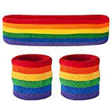 Suddora Sweatband Set - (1 Headband And 2 Wristbands) Cotton For Sports & More Rainbow