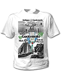 teesquare1st Guatemala Camiseta Blanca para Hombre de Algodon
