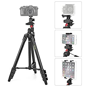 iKross Trépied Léger de 120cm Multi-Usage incluant Adaptateur pour Smartphone, GoPro, Tablette et Appareil Photo et Sac pour Trépied
