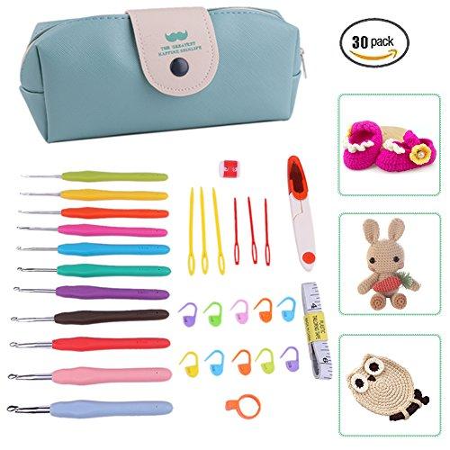 Herramienta De Costura Set 30 Tamaños Crochet Hooks Premium Ganchillo Kit Con El Bolso De la PU,Del Caso Del Arte Conjunto De Ganchillo