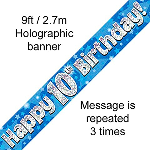 10th Birthday Blue Holographic Banner by Signature Balloons