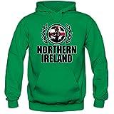 Shirt Happenz Nordirland WM 2018#2 Hoodie | Fußball | Herren | Green & White Army | Trikot | Nationalmannschaft, Farbe:Hellgrün (Kellygreen F421);Größe:XXL
